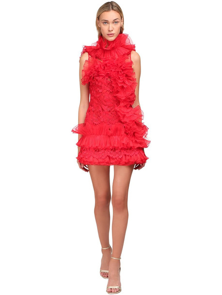 YOLANCRIS Ruffled Sheer Lace Mini Dress in red