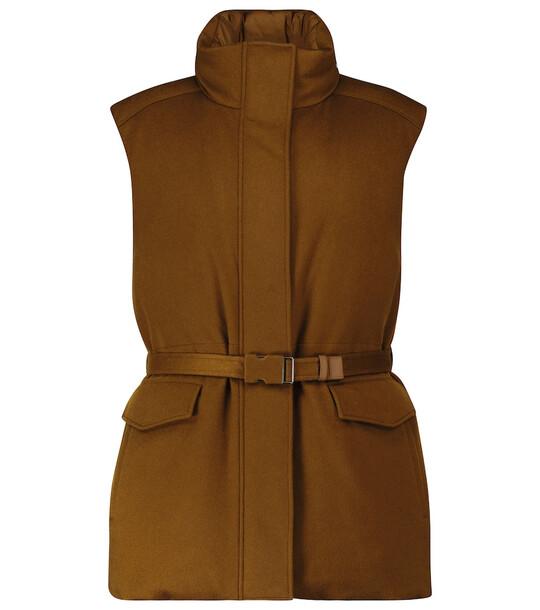 Loro Piana Laytin belted cashmere down vest in beige