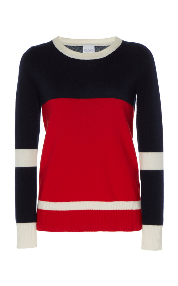 Madeleine Thompson Chaos Colorblock Cashmere Sweater in navy
