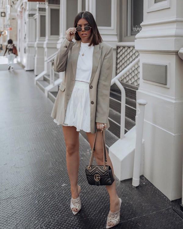 dress white dress mini dress sandals blazer gucci bag black leather bag