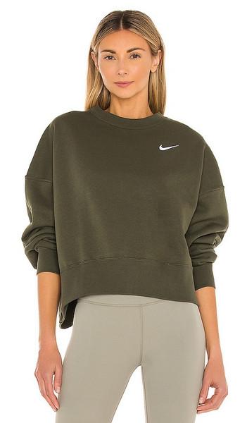 Nike NSW Crew Fleece Sweatshirt in Green in khaki