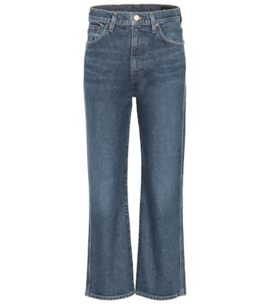 Goldsign High-rise cropped wide-leg jeans in blue