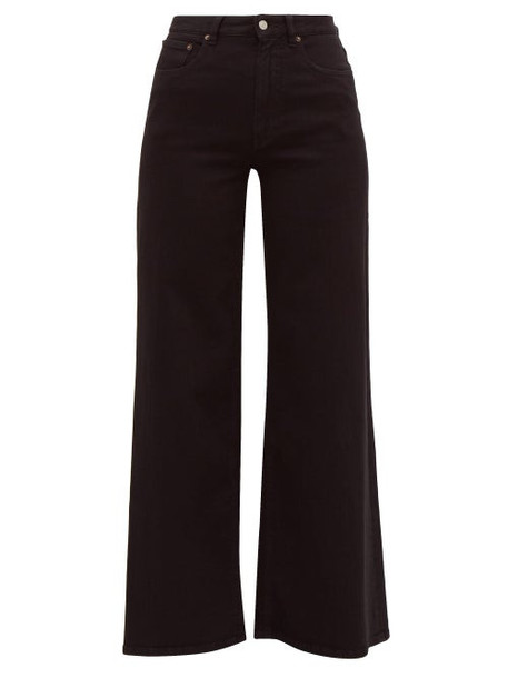 Mm6 Maison Margiela - Cotton Blend Twill Wide Leg Jeans - Womens - Black