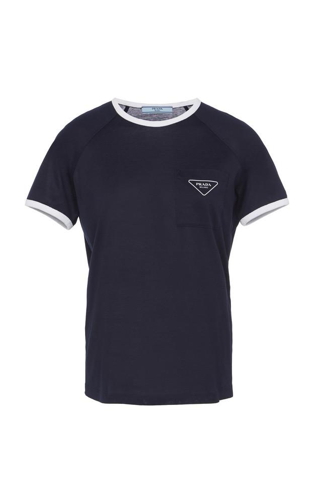 Prada Printed Cotton T-Shirt Size: XL in navy