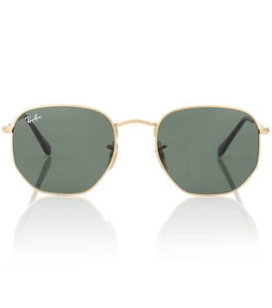Ray-Ban RB3548N Hexagonal Flat sunglasses in gold