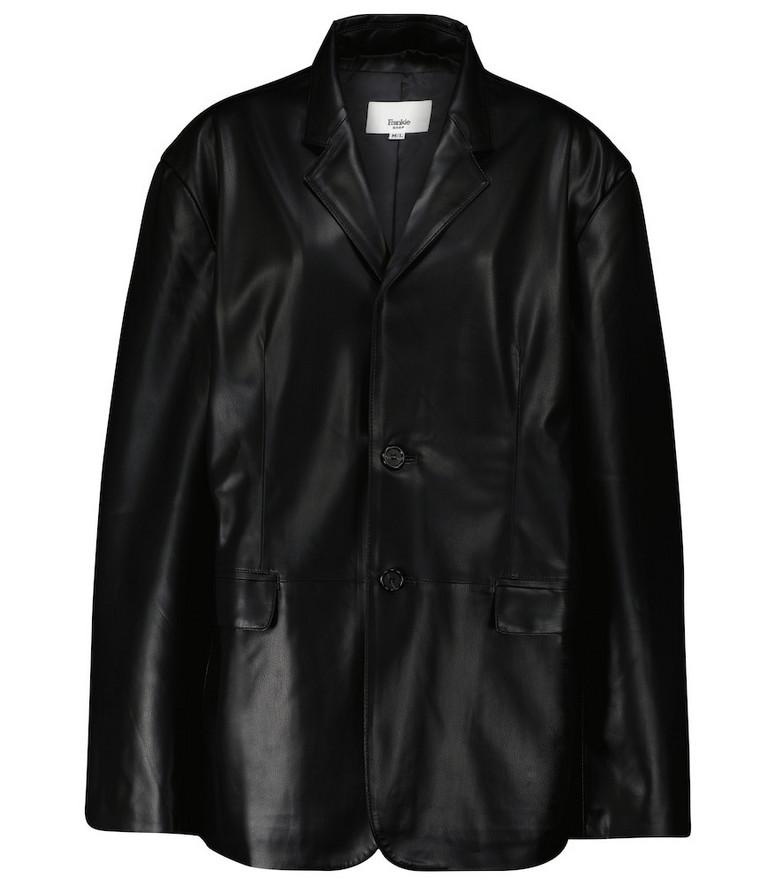 Frankie Shop Olympia faux leather blazer in black