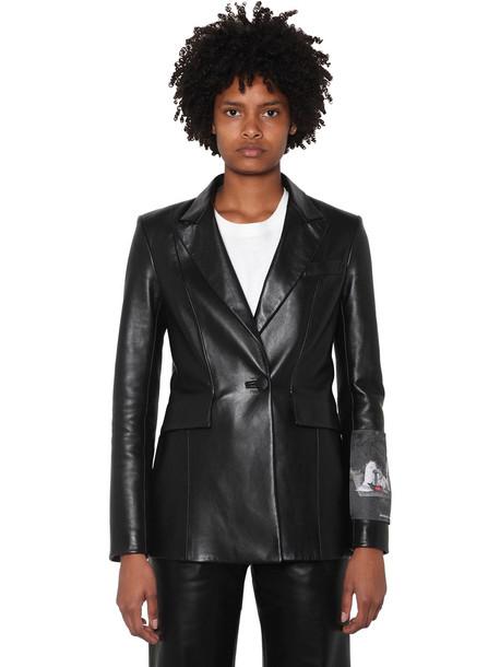OFF-WHITE Logo Patch Leather Blazer in black