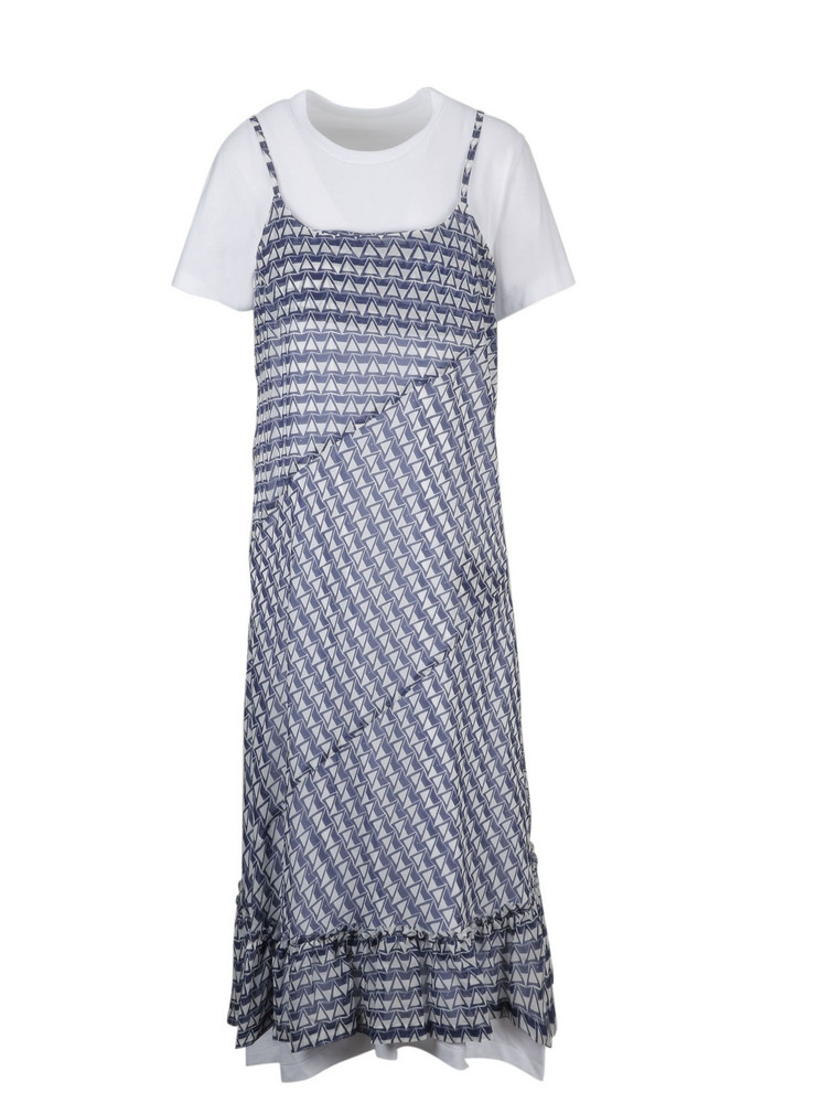 Comme Des Garçons Patterned T-shirt Dress in navy / white