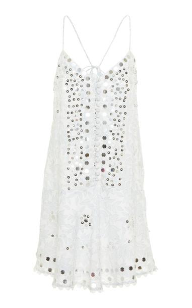 Juliet Dunn Printed Cotton Slip Dress in white