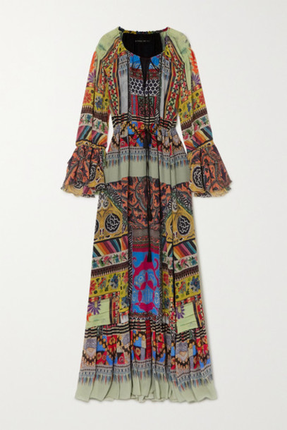 Etro - Tie-detailed Printed Silk-crepon Maxi Dress - Blue