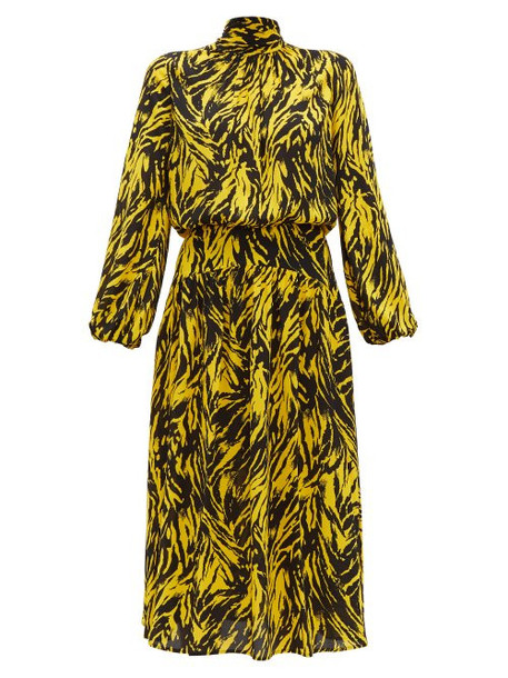 No. 21 - Tie Neck Zebra Print Crepe Midi Dress - Womens - Black Yellow