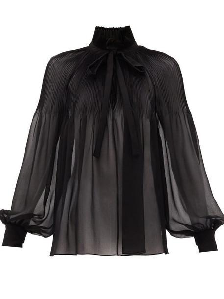 Saint Laurent - Tie-neck Plissé Silk-georgette Blouse - Womens - Black