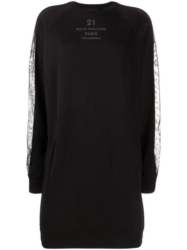 Karl Lagerfeld logo-print sweatshirt dress in black