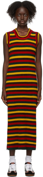 Wales Bonner Multicolor Chenille Brixton Dress in green / red / yellow