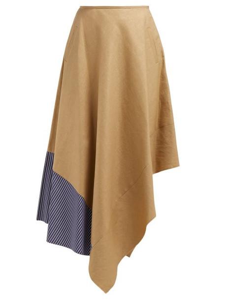 Loewe - High Rise Asymmetric Panelled Skirt - Womens - Beige Multi