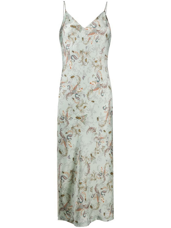 AllSaints insect-print slip dress in blue
