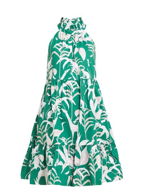 Borgo De Nor - Margot Animal Kingdom Print Cotton Dress - Womens - Green White