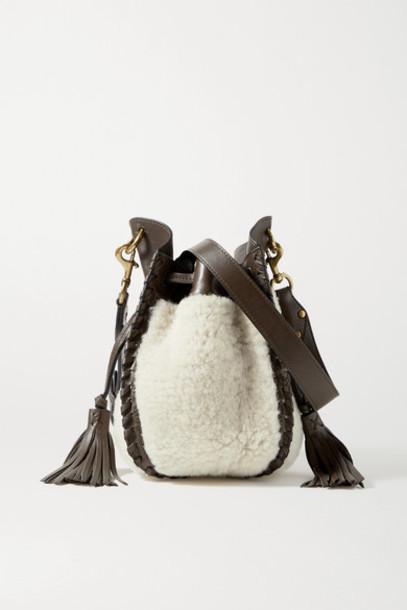 Isabel Marant - Radja Whipstitched Leather-trimmed Shearling Bucket Bag - Ecru