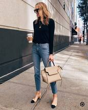 jeans,high waisted jeans,straight jeans,cropped jeans,slingbacks,black sweater,shoulder bag,sunglasses