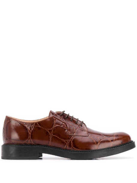 Tod's crocodile-effect oxford shoes in brown