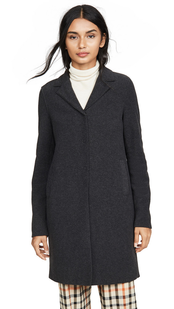 Harris Wharf London Boxy Polaire Coat in anthracite