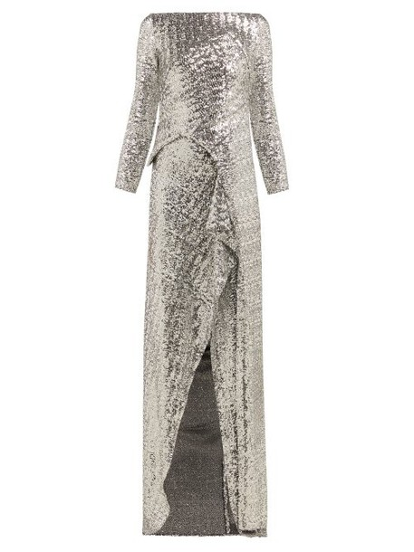 Roland Mouret - Sarandon Sequinned Panelled Gown - Womens - Silver