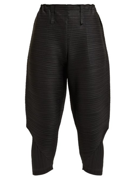 Pleats Please Issey Miyake - Thicker Bounce Tech Pleated Tapered Trousers - Womens - Black