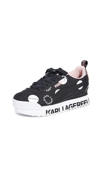 PUMA x Karl Lagerfeld Roma Amor Polka Dot Sneakers in black / rose / white