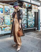 coat,brown coat,long coat,fendi,slingbacks,jumpsuit,handbag,brown bag,floppy hat