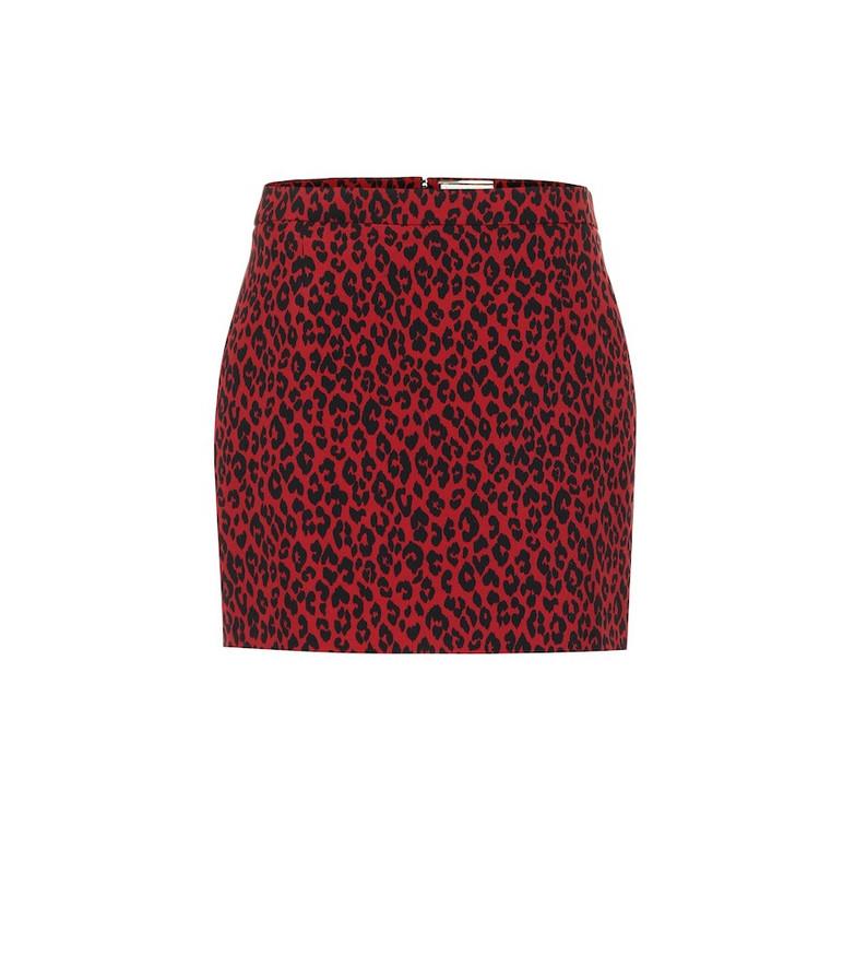 Saint Laurent Leopard-print wool miniskirt in red