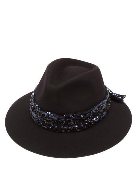 Maison Michel - Rico Sequinned Wool-felt Fedora Hat - Womens - Black Blue