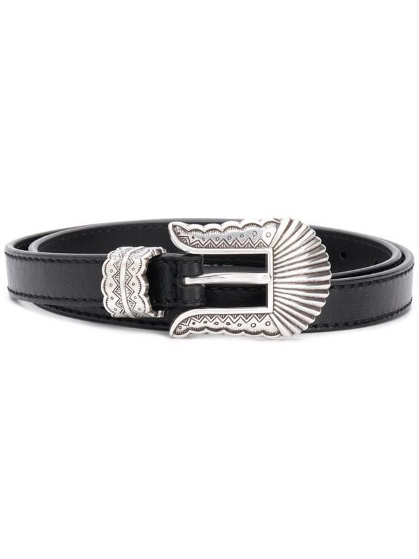 Kate Cate engraved buckle belt in black