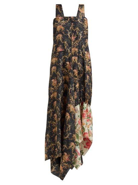 By Walid - Manal Floral Print Raw Silk Midi Dress - Womens - Black Multi