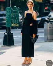 dress,black dress,maxi dress,off the shoulder,sandal heels,black bag