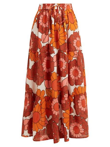 Dodo Bar Or - Batia Floral Print Tiered Cotton Maxi Skirt - Womens - Orange Print