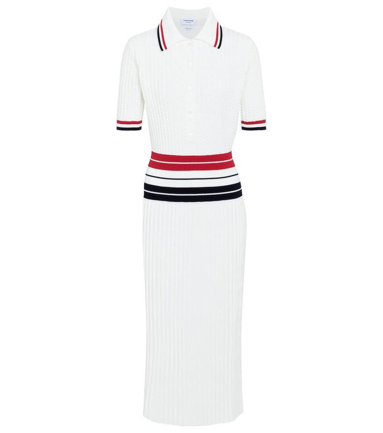 Thom Browne Cotton-blend midi dress in white