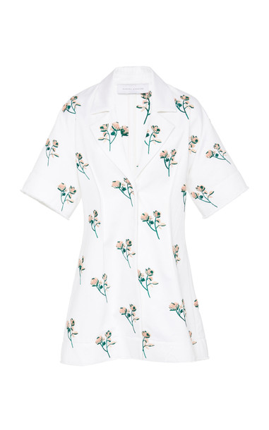 Marina Moscone Floral-Print Cotton Top Size: 0 in white