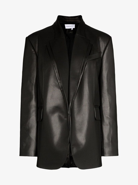 Aleksandre Akhalkatsishvili double collar longline leather jacket in black