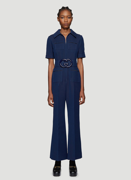 Gucci Belted Wide-Leg Jumpsuit in Blue size IT - 44