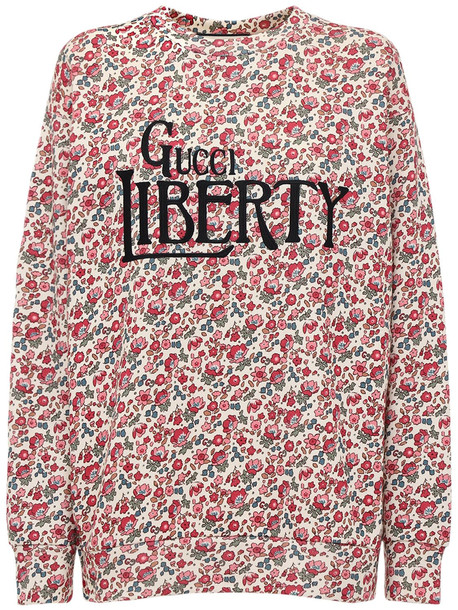 GUCCI Liberty Printed Cotton Jersey Sweatshirt in white