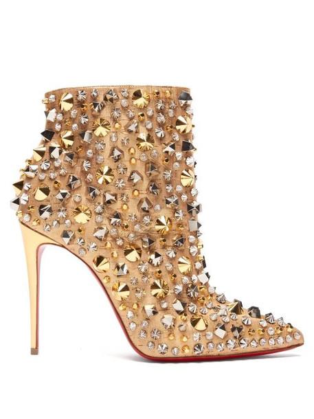 Christian Louboutin - So Full Kate 100 Liège Pépite Ankle Boots - Womens - Silver Gold