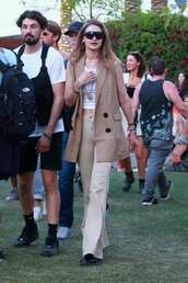 jacket,camel,nude,vest,pants,coachella,festival clothes,coachella outfit,gigi hadid,model off-duty