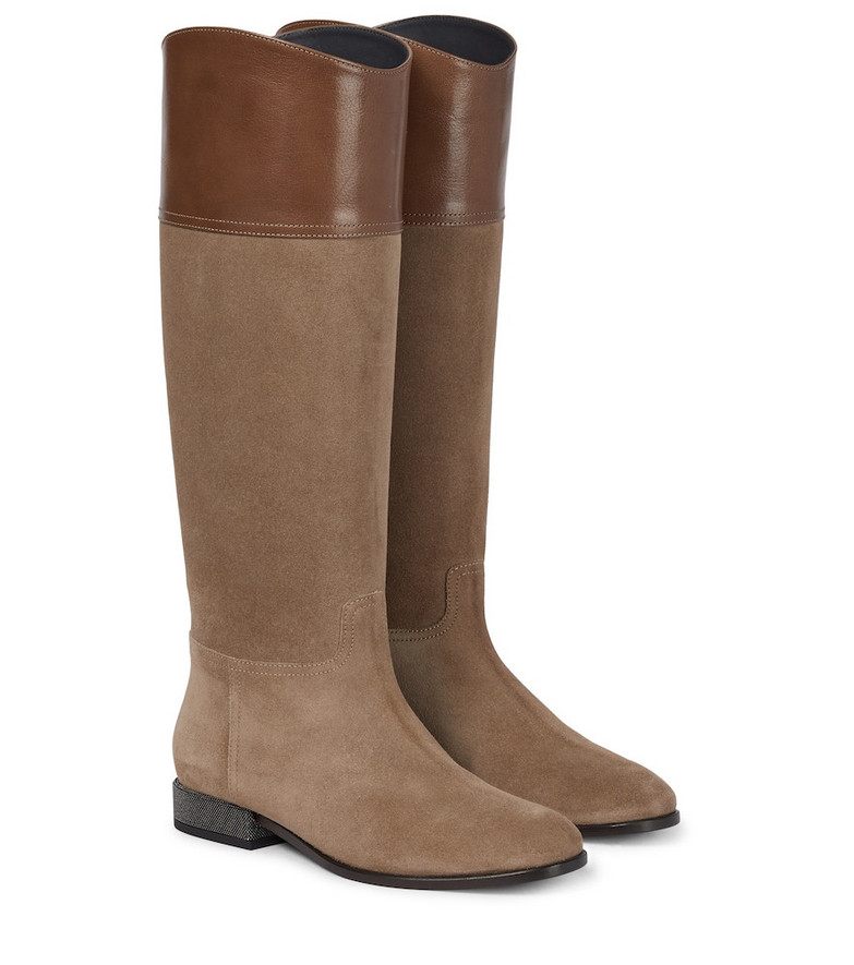 Brunello Cucinelli Leather and suede riding boots in brown