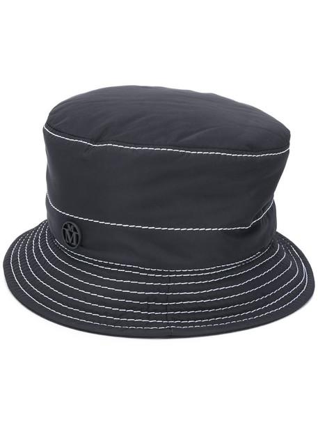 Maison Michel contrast stitching bucket hat in black