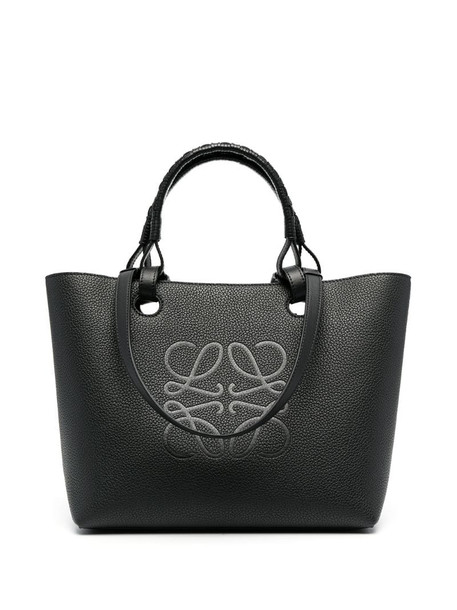 LOEWE mini Anagram leather tote bag in black