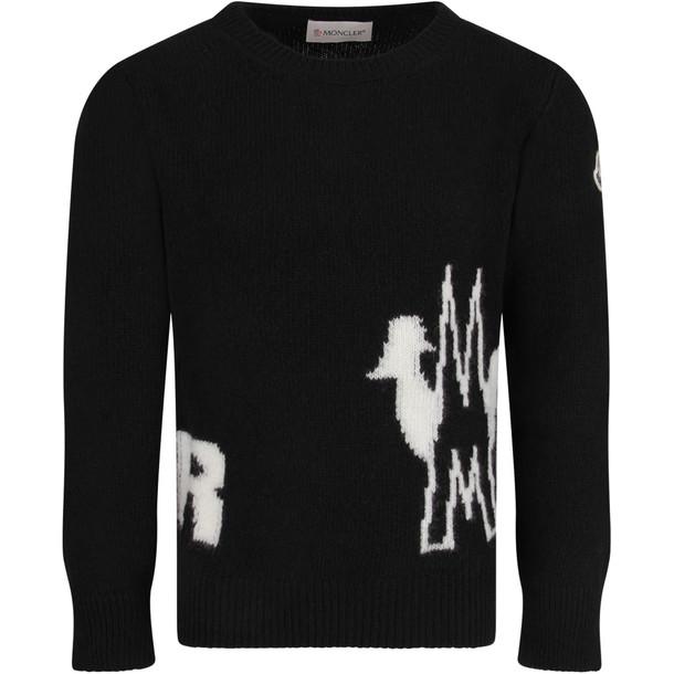 Moncler Black Kids Sweater With White Logo