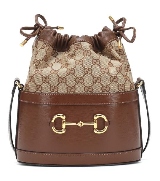 Gucci Horsebit 1955 canvas bucket bag in brown