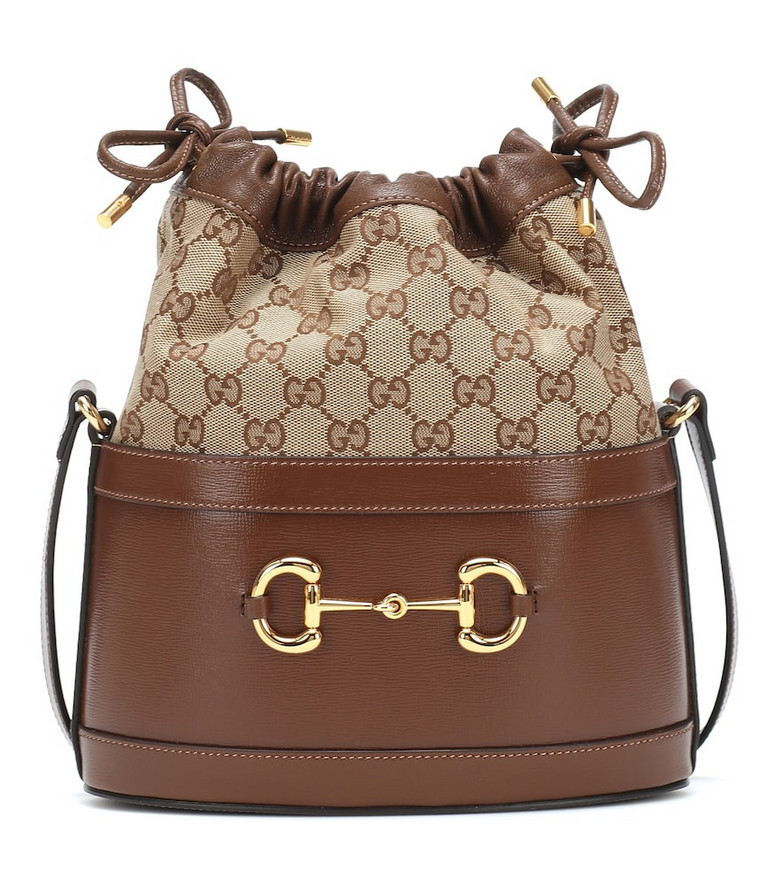 Gucci Horsebit 1955 canvas bucket bag in brown