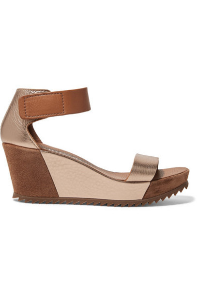 Pedro Garcia - Fidelia Metallic Textured-leather And Suede Wedge Sandals - Gold
