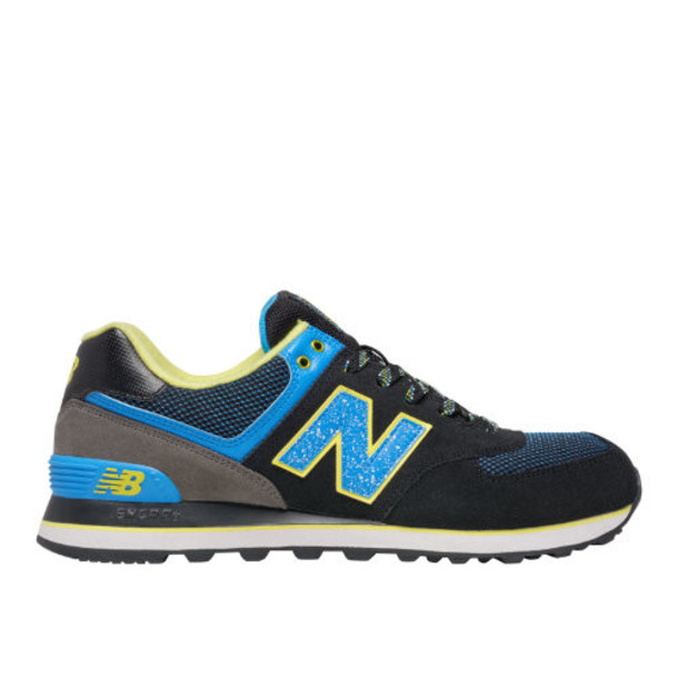 New Balance 574 Outside In Men's 574 Shoes - Black/Blue Atoll/Yellow (ML574OIC)